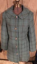 DEX M Coat Wool Blue White Brown Mod Designer Diamond NEW Fur Collar Silver