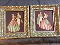 "Vintage Pair Of 1940's Turner Air Brush  Pictures Original 9""x 10"""