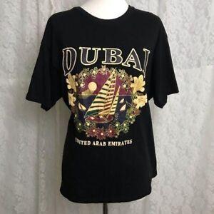 AST Pre-Shrunk Womens Black T-shirt sz XL DUBAI Logo United Arab Emirates