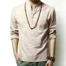 Linen Shirts T-shirt Men Mandarin Collar Slim Long Sleeve Fitted Casual Vintage