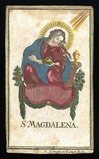 santino incisione 1700 S.MARIA MADDALENA  dip.a mano KEMPTER