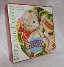 "Christmas Holiday Plate Fitz & Floyd 'Christmas Kitty "" Original Box"