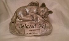 Ceramic CAT /Pet Urn cremation/angel/name plate
