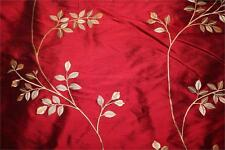 "Embroidered Silk Dupioni Fabric ~ The Giving Tree Collection ~ Garnet - 54"" wide"
