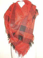 VINTAGE 1980'S OVERSIZE FRINGED SCARF SHAWL RED AND BLACK CHECK FESTIVAL CHIC...