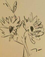 "JOSE TRUJILLO - Original Charcoal Paper Sketch Drawing 9X12"" - DAISIES FLORAL"