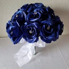 Royal Blue Satin Rhinestone Rose Bridal Wedding Bouquet & Boutonniere