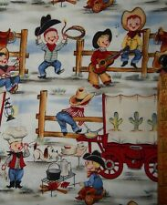 cotton quilt fabric Michael Miller Lil Cowpokes cowboy cowgirl BTHY 1/2 yd rodeo