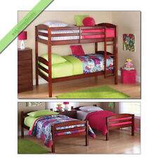 Twin Over Twin Bunk Beds Girls Boys Kids Convertible Bunkbeds Wood Bed, Walnut