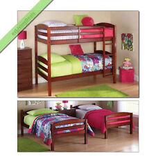 Bunk Beds Twin Over Twin Girls Boys Kids Bunkbeds Convertible Wood Bed, Walnut