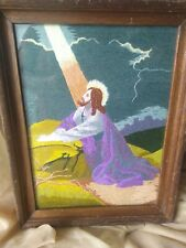 Vintage Antique Beautiful Framed Tapestry Needlepoint Jesus in the garden