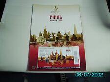 2008 Manchester United v Chelsea Champions League Finale programma & TICKET
