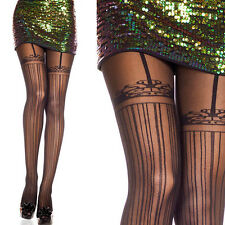 Sheer Black Illusion Thigh High Faux Suspender Garter Pinstripe Pantyhose Tights