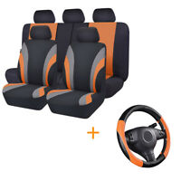 Universal Car Seat Covers Black Orange Steering Wheel Cover Fit For Holden Sedan