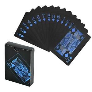PVC noir en plastique poker cartes à jouer magiques imperméables jeu de table bl