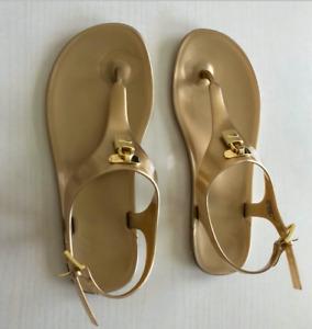 Michael Kors Mira Gold Jelly Thong Sandal
