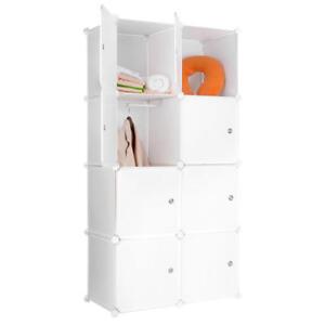 Portable Clothes Closet Wardrobe Bedroom Armoire Storage Organizer W/ Doors