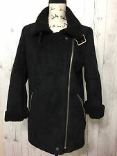FOREVER 21 Black Zipper Sz SMALL PEACOAT Retro Flap 80s Coat JACKET Women's