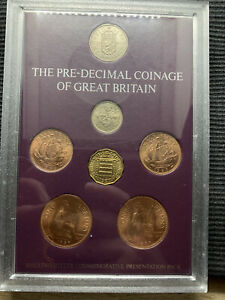 1966 1967 Cased The Pre-decimal Coinage of GB 7 coins UNC Shilling Bitter pack