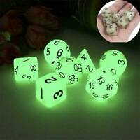 7x Glowing Polyhedral Dice Set Luminous Glow in Dark For DND Role Playing Game