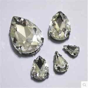 Sew On rhinestone teardrop crystal cabochons clear cut glass y-pk size qty