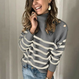Sweater Long Sleeve Casual Pullover Womens Tops S M L Size Jumper Shirts Ladies