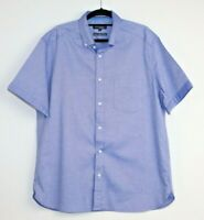 Blue Harbour Men's Luxury Oxford Weave Blue Chambray Short Sleeve Shirt Size L