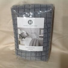 Hotel Collection Modern Plaid Quilted Linen Cotton KING Sham GREY $150