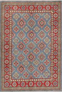 Geometric Oriental Super Kazak Area Rug Wool Hand-Knotted Diamond Carpet 4x6 NEW