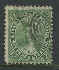 Canada 1859 12 1/2 cents Queen Victoria Fine used black target cancel
