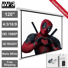"120"" Electric Motorised Projector Screen 3D HD Home Cinema 16:9 4:3 Projection"