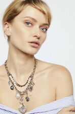 Free People Charm Necklace Goldtone 3 Layers Pearls Hearts Fancy Chain NWT