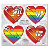 CS262 - Safety Pin Hearts  Anti President Donald Trump Protest Pack 2 Sticker