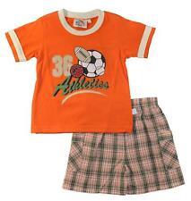 Sweet & SOFT bebé niño naranja top 2pc Cuadros Corto Juego Talla 18m