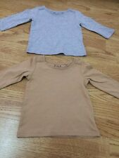 2 x Next Brand New Baby Girls Size 3-6 Months Long Sleeved Tan & Grey Tops