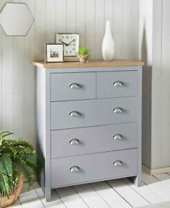 New Oak Finish Millbrook 5 Drawer Chest with Grey Finish and Metal Handles