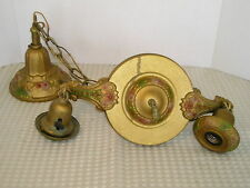 Antique 2 Socket Brass Chandelier Light Fixture Floral Decoration Cottage A++