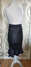 Wet Look Pencil High Waisted Peplum Leather Effect Skirt XS