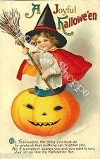 Fabric Block Halloween Vintage Postcard Image