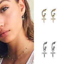Women Gold Silver Cross Hoop Earring Eardrop Ear Stud Hanging Pendant Jewelry