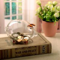 Clear Glass Piggy Bank Coin Money Cash Collectible Saving Box Jar Gift Pig UK