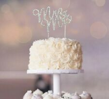MR and MRS Silver Crystal Rhinestone Wedding Cake Topper Reception Decoration