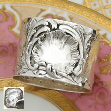 Antique French Sterling Silver Napkin Ring, Louis XVI Rococo Seashell Pattern