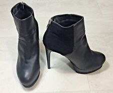 Forever 21 Womens Heels Size 10 Black Faux Suede Leather Platform Ankle Booties