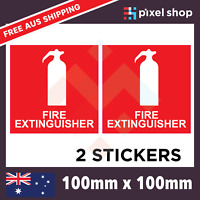 2 x Fire Extinguisher Sticker 100mm Decal OHS WHS Car Window Work Ute 4x4 Safety