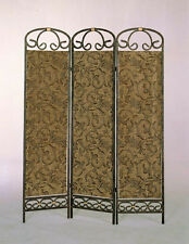 Brand New 72''H Vintage style 3-Panel Metal Frame Fabric Room DIvider - ASDI