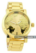 "mens big gold tone world map clubbing watch designer dial 8"" bracelet Techno"