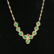 """Nyjewel Brand New 18k Solid Gold Jadeite A Jade Necklace 16"""" $6799 Great Gift!"""