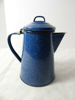 Blue White Speckled Enamelware Lidded Coffee Pot 5 Cup Camping Farmhouse