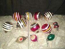 Vintage Shiny Brite Christmas Ornament Lot Of 12 Striped Balls